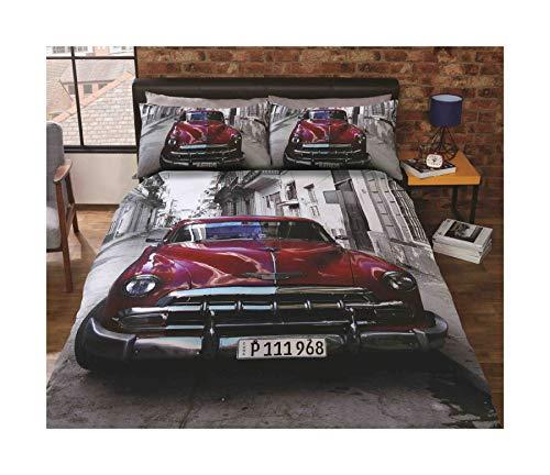 CLASSIC AMERICAN CAR STREET SCENE RED COTTON BLEND USA TWIN (COMFORTER COVER 135 X 200 - UK SINGLE) (PLAIN BLACK FITTED SHEET - 91 X 191CM + 25 - UK SINGLE) 3 PIECE BEDDING SET