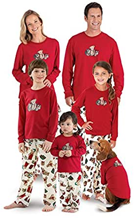PajamaGram Vermont Teddy Bear Matching Family PJs, Red, Women SML (4-6)