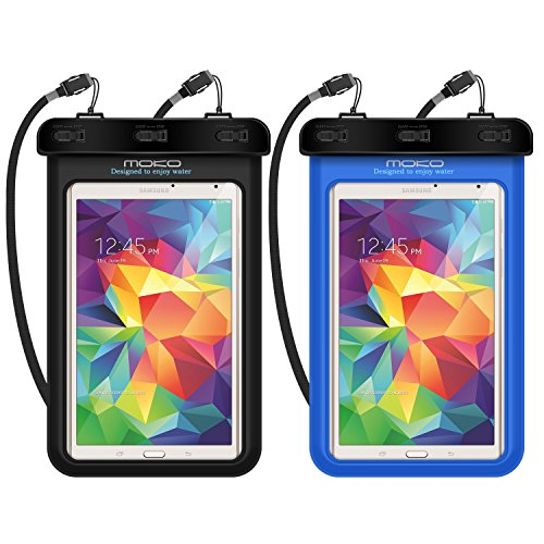 "Universal Waterproof Case, MoKo [2-Pack] Dry Bag Pouch for iPad Mini 4/3/2, Samsung Tab 5/4/3, Galaxy Note 8, Tab E/Tab A 8.0, LG G Pad III 8.0, Google Nexus 7(FHD) & More Up to 8.3"", BLACK + BLUE"