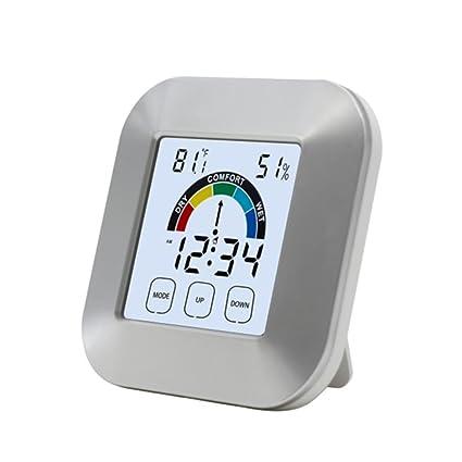Sunneey Higrómetro Interior/Exterior Digital termómetro electrónico portátil Tipo de Contacto Reloj metereológica Comfort Indicador