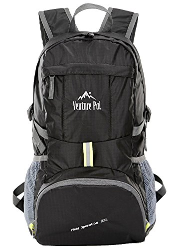 Venture Pal Lightweight Packable Durable Travel Hiking Backpack Daypack (Black)