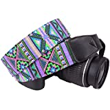 Wolven DSLR/SLR Camera Neck Shoulder Strap Belt Canvas Digital Camera Strap For Nikon Canon Samsung Pentax Sony Olympus Leica ETC (Purple Green)