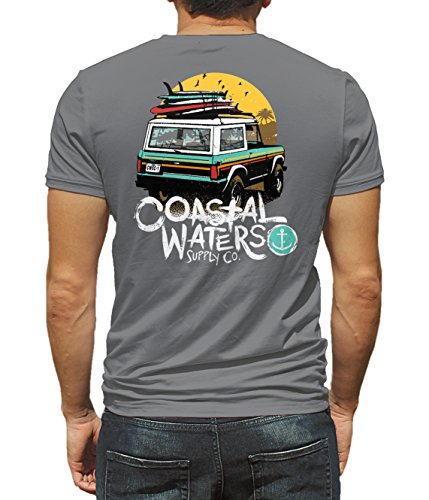 (Coastal Waters Short Sleeve Pocket Tee Bronco (Titanium, Small))