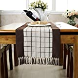 American Rural Fringed Table Runner,College Style Sub-tablecloth,Coffee Table Cloth Decoration Bed Card TV Cabinet Cover Cloth-B 38x220cm(15x87inch)