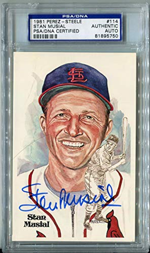 1981 Stan Musial Signed Perez Steele Postcard #114. PSA Authentic