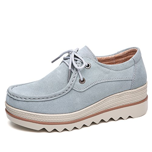 LakeRom Womens Shoes For Platform Loafers Slip On Shoes Suede Women Shoes Blue