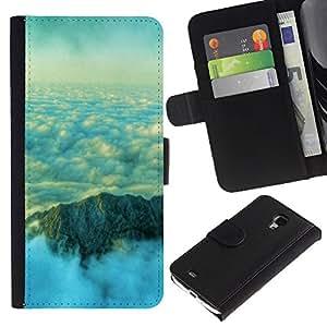 iBinBang / Flip Funda de Cuero Case Cover - Nubes Montaña Hermosas - Samsung Galaxy S4 Mini i9190 MINI VERSION!