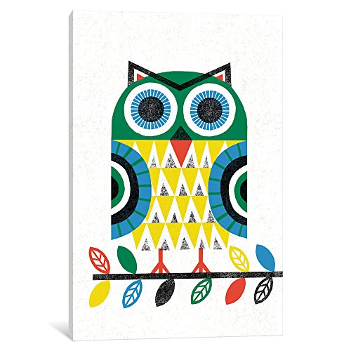 Icanvas Folk Lodge (Owl I) Gallery Wrapped canvas Art Print by Michael Mullan