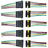 E Support 6 Pin Way Car Auto Waterproof Electrical Connector Plug Socket Kit with Wire AWG Gauge Marine Pack of 5