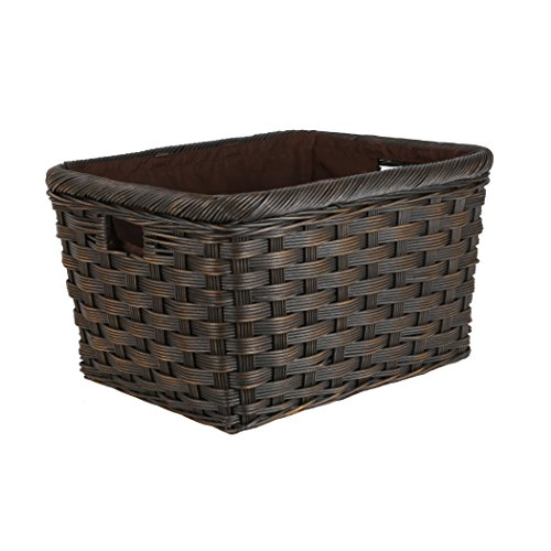 The Basket Lady Jumbo Wicker Storage Basket, XL, Antique Walnut Brown (Wicker Antique Baskets)