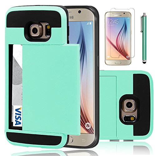 Galaxy S6 Case, EC™ Samsung Galaxy S6 Wallet Case, Hybrid High Impact Resistant Protective Shockproof Hard Shell with Card Holder Slot Cover for Samsung S6 (Turquoise)