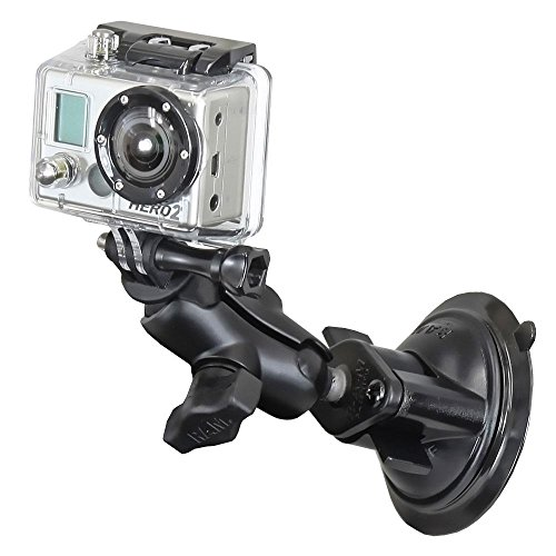 RAM Twist Lock Suction Cup Mount, Short Double Socket Arm & 1