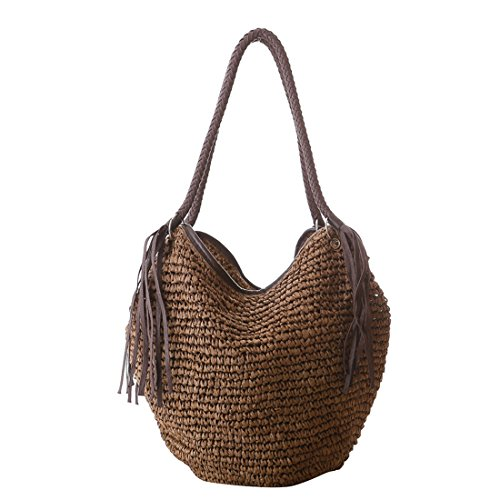 Luckywe Bolso mano bolsa Borlas de pulpo mango paja playa para mujeres A68 marrón
