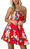 Angashion Women's Floral Strapless Pleated Flowy Skater Mini Tube Dress Red