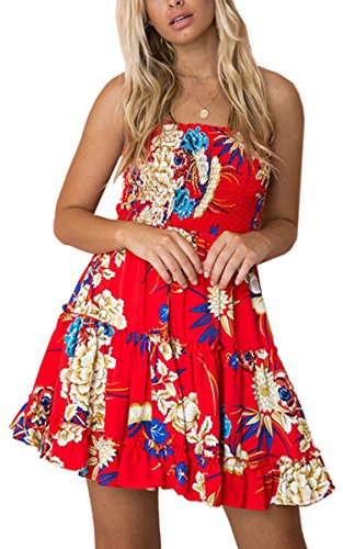 - Angashion Women's Floral Strapless Pleated Flowy Skater Mini Tube Dress Red