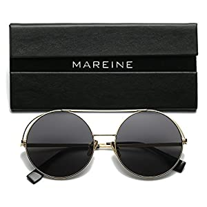 MAREINE Adela Unisex Classic Round Sunglasses UV PC Lens Oversize Metal Frame-Gold Frame/Grey Lens