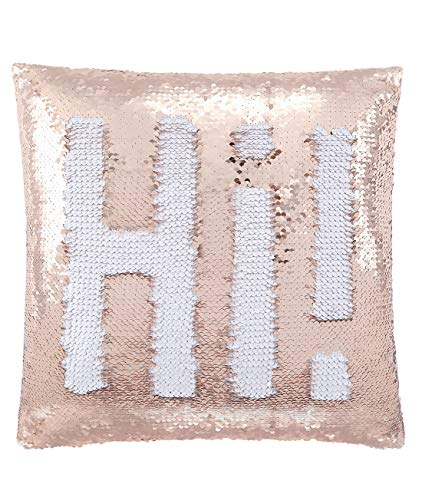 ANKIT Mermaid Pillow Reversible Sequin Pillow That Changes Color - Champagne Gold Mermaid Sequin (Dorm Room Pillows)