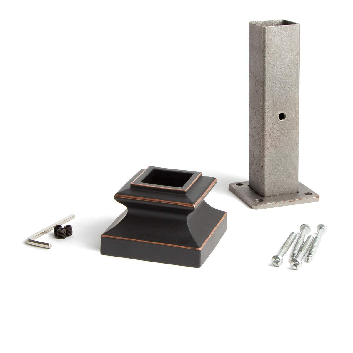 Oil Rubbed Copper 16.2.3 Newel Mounting Kit for 1-3/16 inch Square Iron Newel Posts for Stair Remodeling by House of Forgings