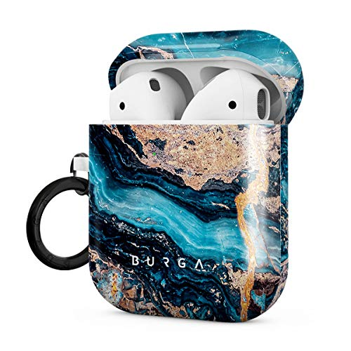BURGA Hardcase Compatible With Apple Airpods 2 & 1 Charging Case, Crystal Blue Teal Turqoise Marble Cute Case For Women…