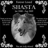 Personalized Pet Dog Cat Memorial 12''x12'' Engraved Black Granite Grave Marker Head Stone Plaque SHA1