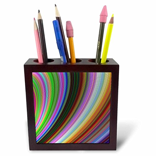 3dRose David Zydd - Colorful Abstract Designs - Bend - Multicolored Computer Generated Art - 5 inch Tile Pen Holder (ph_284079_1) ()