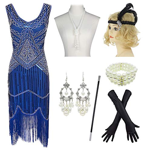 (1920s Gatsby Sequin Fringed Paisley Flapper Dress with 20s Accessories Set (L,)