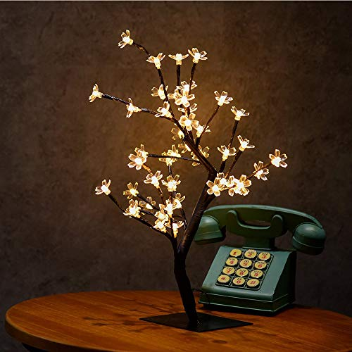 Bivisen Cherry Blossom Bonsai Tree Light, Decorative Tree Light, Black Branches, Ideal for Garden, Home, Wedding, Party Decoration, Wedding, Christmas (White) (Cherry Lights Tree)