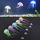 Agooding Artificial Fluorescent Jellyfish Aquarium Fish Tank Ornament (Pack of 5)