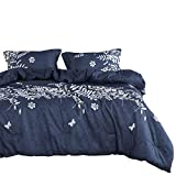Wake In Cloud - Navy Blue Duvet Cover Set, Gray Grey Floral Flowers Tree Leaves Pattern Printed, Soft Microfiber Bedding with Zipper Closure (3pcs, Queen Size)