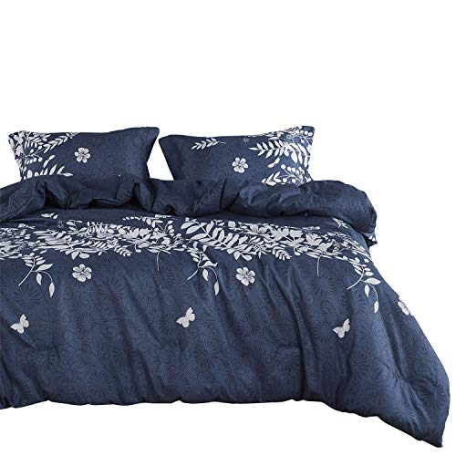 Wake In Cloud - Navy Blue Comforter Set, Gray Floral and Tree Leaves Pattern Printed, Soft Microfiber Bedding (3pcs, King Size)