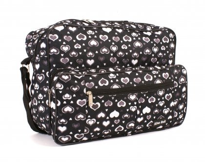 New Shoulder Hand Luggage Flight Cabin Weekend Travel Holdall Bag Black Purple 16 inch (Black Hearts)