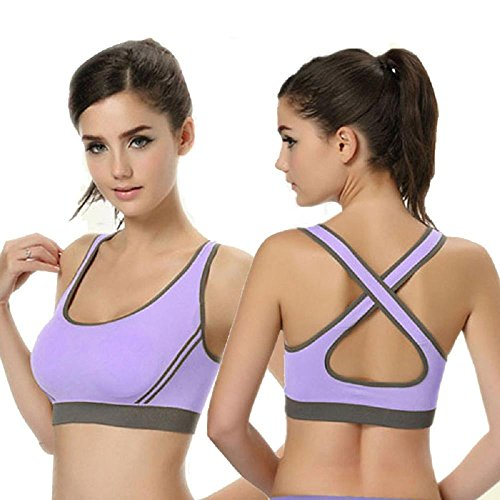 Kinghard New Women Padded Bra Top Athletic Vest Gym Fitness Sports Yoga Stretch (S, Purple)