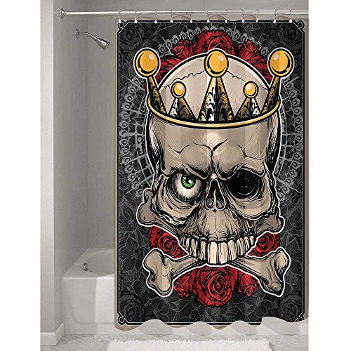 Gothic Exquisite polyester Shower curtain Skull with Crown Roses Bones Dead King Halloween Illustration Art Prevent splashing water while taking a shower W79 x L72 Inch Tan Marigold Dark Grey Red]()