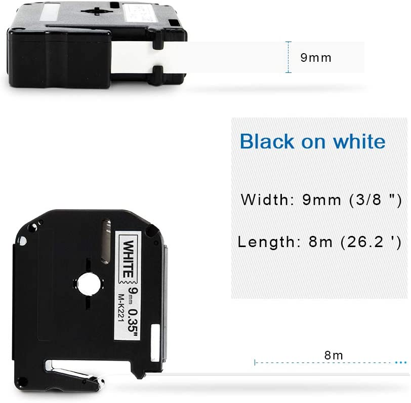 PT-85 5-Pack PT-70 Black on White PT-90 PT-65 26.2 Feet COLORWING Compatible Label Tape Replacement for Brother P-Touch M Tape MK-221 m-k221s 9mm 0.35 Inch to use with Brother P-Touch PT-M95