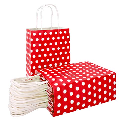 25 PCS Gift Bags Red Kraft Paper Bags with Handles and White Dots for Kid's Birthday Wedding Holiday Party Supplies by ADIDO EVA(8.2 x 6 x 3.1 in) ()