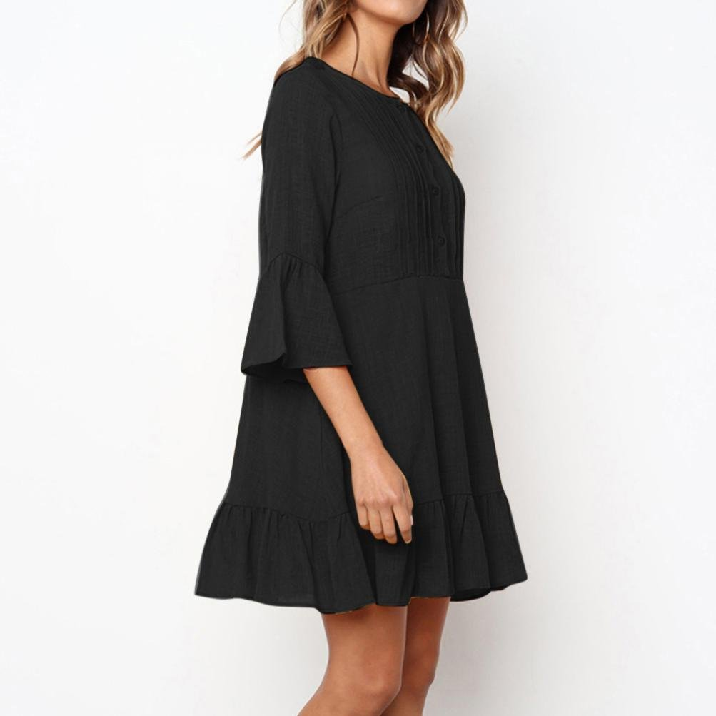 Damen Kleider,Kanpola Frauen Elegant Lange /Ärmel Abendkleid Knielang Kleider Tunika Shirt Partykleid Cocktailkleid