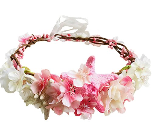 1PC Handmade Starfish Pink Flower Wreath Crown Hair Band Headband Girls Beach Wedding Mermaid Garland Hair Accessories Bride Seaside Photography Decor…