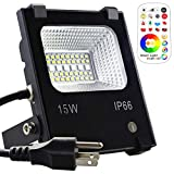 MELPO 15W LED Flood Light Outdoor, Color Changing RGB Floodlight with Remote, 120 RGB Colors, Warm White to Daylight Tunable, IP66 Waterproof, US 3-Plug Review