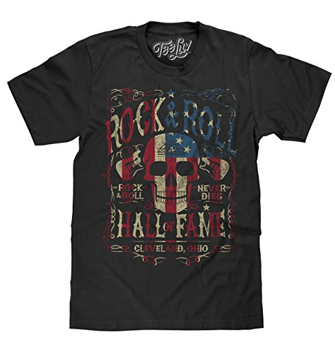 Tee Luv Rock and Roll Hall of Fame T-Shirt - American Flag Skull Shirt (XXX-Large) Black
