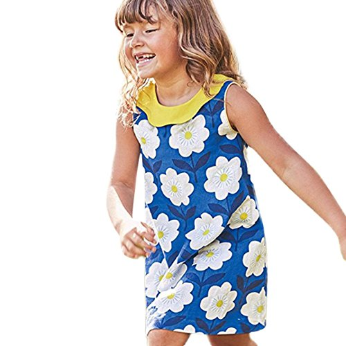 Outtop(TM) Baby Girls Dress Toddler Kids Summer Sleeveless Print Princess Dress Casual Party Clothes (4T(3~4year), Blue) by Outtop(TM)