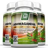 BRI Nutrition Ashwagandha - 3-Pack - 1000mg Pure Ashwagandha Root Powder - 2 Veggie Capsules Per Serving .