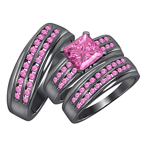 (RUDRAFASHION Beautiful 3.10cttw Princess & Round Cut Pink Sapphire Black Gold Plated Two Row Wedding Band Engagement Ring for His & Her Trio Ring Set)
