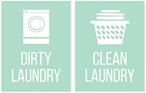 Andaz Press Laundry Room Wall Art Decor Signs, 8.5 x 11-inch Poster, Mint Green Print, Clean Laundry, Dirty Laundry, 2-Pack