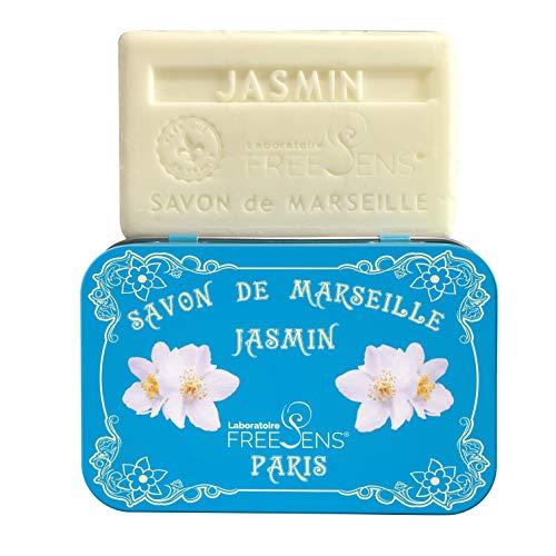 Bar Jasmine Soap - Freesens - Savon de Marseille Bar Soap, Jasmine, Metal Box, Made in France, 100gr