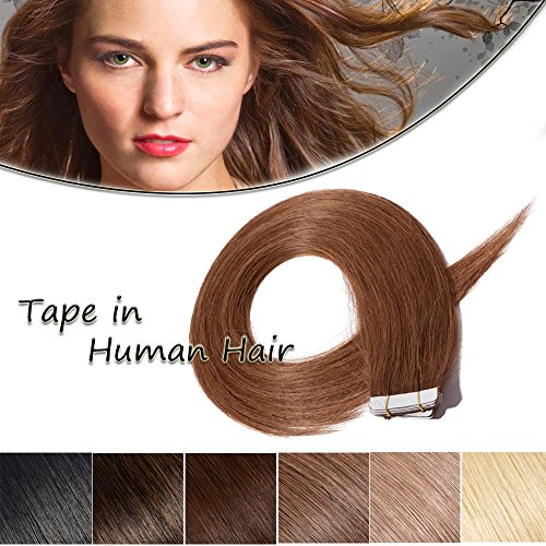 100% Remy Tape in Human Hair Extension 18'' Bonding Double Sided Tape Professional Straight Seamless Skin Weft Hair 20Pcs/50g (Chestnut Brown #6) + 10pcs Free Tapes ()