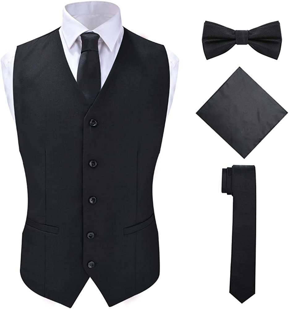 SuiSional Men's 4pc Classic Jacquard Suit Vests with Tuxedo Necktie Handkerchief Bowtie Set