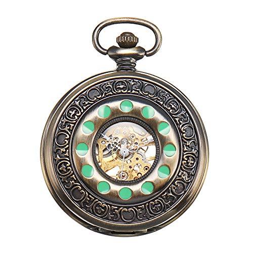 ShoppeWatch Pocket Watch Celtic Design Green Dots Steampunk Mechanical Movement Cosplay ()