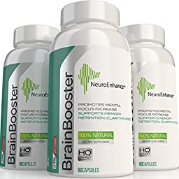NeuroEnhance Natural Brain Function Booster Supplement for Memory, Focus, Mental Clarity & Cognitive Function Enhanced Ginkgo Biloba, St Johns Wort - Holistic Nootropics for Healthy Brain Cells