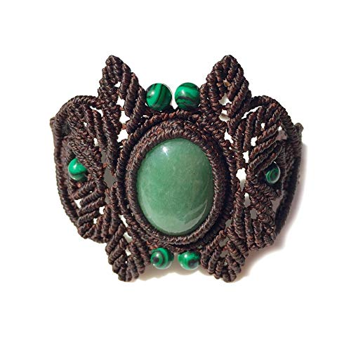 - Earthy Brown Macrame Bracelet with Green Jade and Malachite Stones: Handmade One of a Kind Knotted Leaf Fiber Art Jewelry by Rumi Sumaq