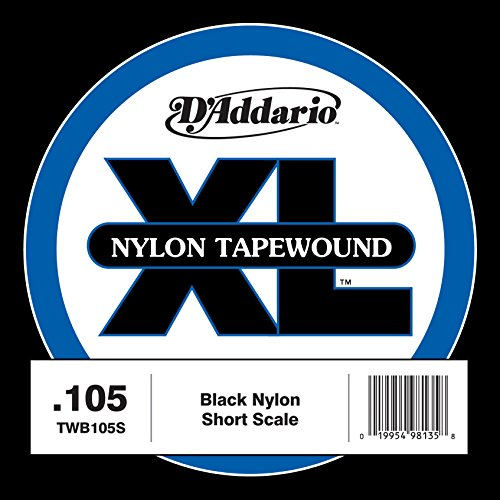 D'Addario TWB105S Nylon Tape Wound Bass Guitar Single String, .105 Fretted Upright Bass